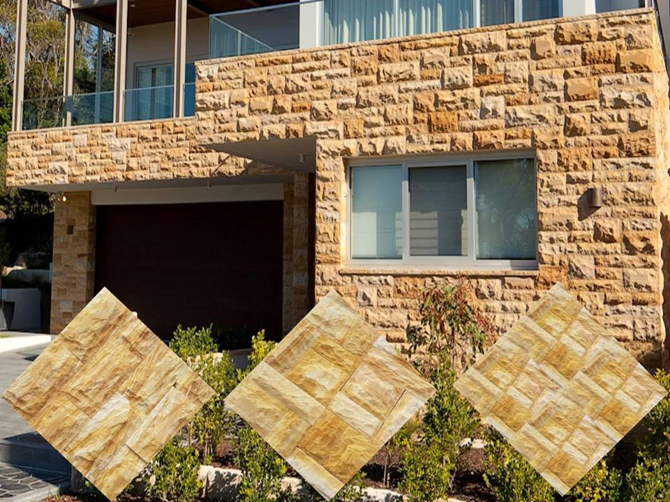 Sandstone Rockface Wall Cladding Elevation Stone Tiles